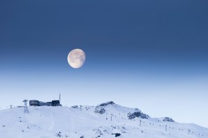 Skigebiet Flims Laax Falera - Crap Sogn Gion mit Vollmond